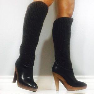 Micheal Kors dark brown knitted shaft boots
